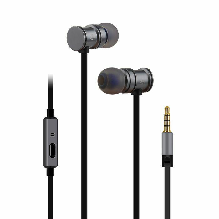 AV LINK - AV Link EMHF1 Metallic Magnetic Stereo Earphones (grey & black)