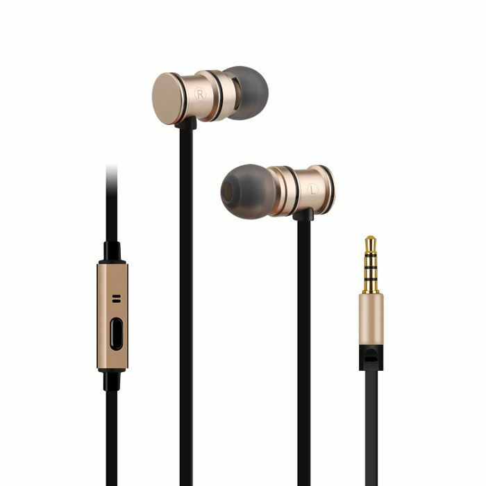 AV LINK - AV Link EMHF1 Metallic Magnetic Stereo Earphones (gold & black)