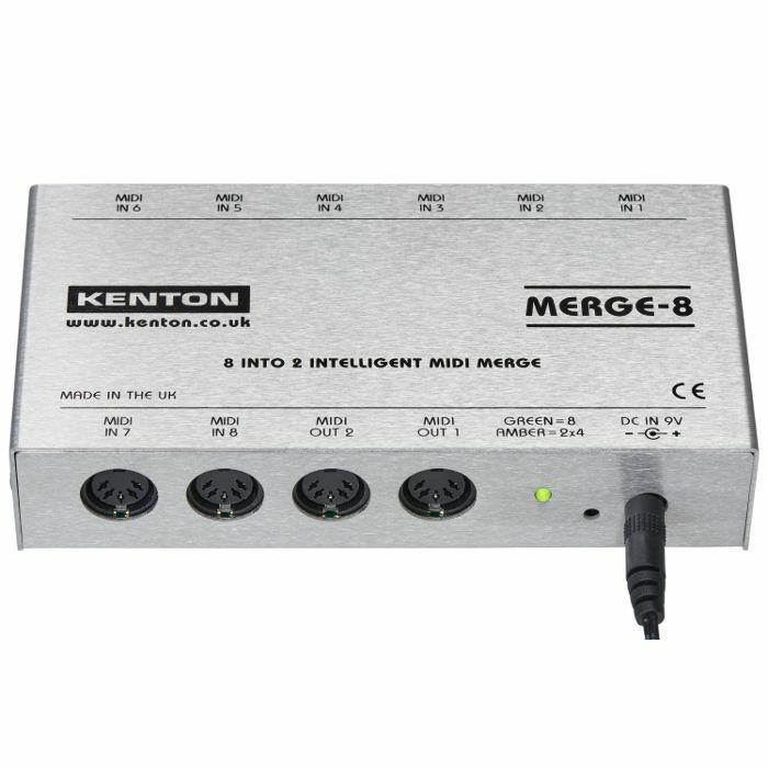 KENTON - Kenton Merge 8 Intelligent MIDI Merge Box *SUPPLIED WITH UK 3-PIN POWER ADAPTER*