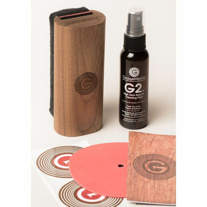 GROOVEWASHER - GrooveWasher Vinyl Record Cleaning Kit With Pad, Fluid & Label Protector (Walnut)