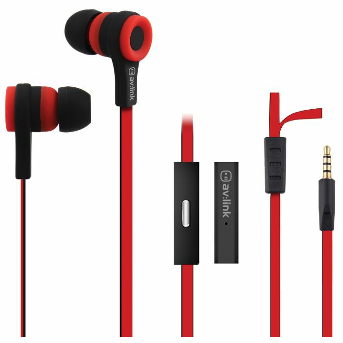 AV LINK - AV Link Rubberised Stereo Earphones With Hands Free Mic (red & black)