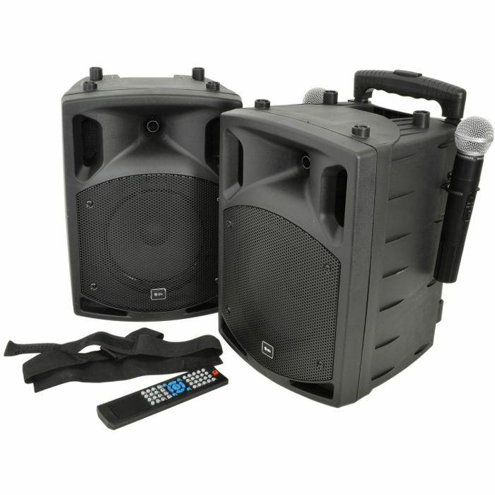 QTX - QTX PAV8 Portable PA Set With UHF Mics Bluetooth & DVD