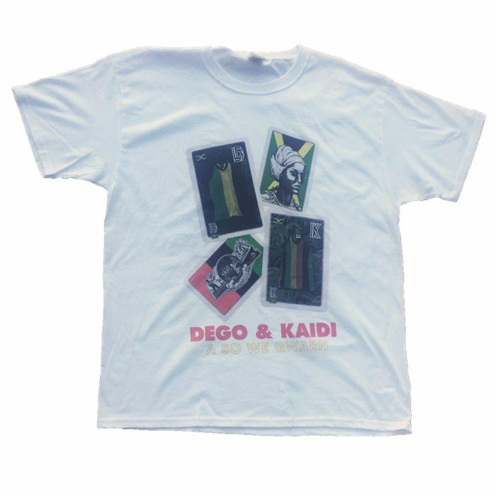 DEGO & KAIDI - A So We Gwarn T Shirt (white with multicoloured print, extra large)
