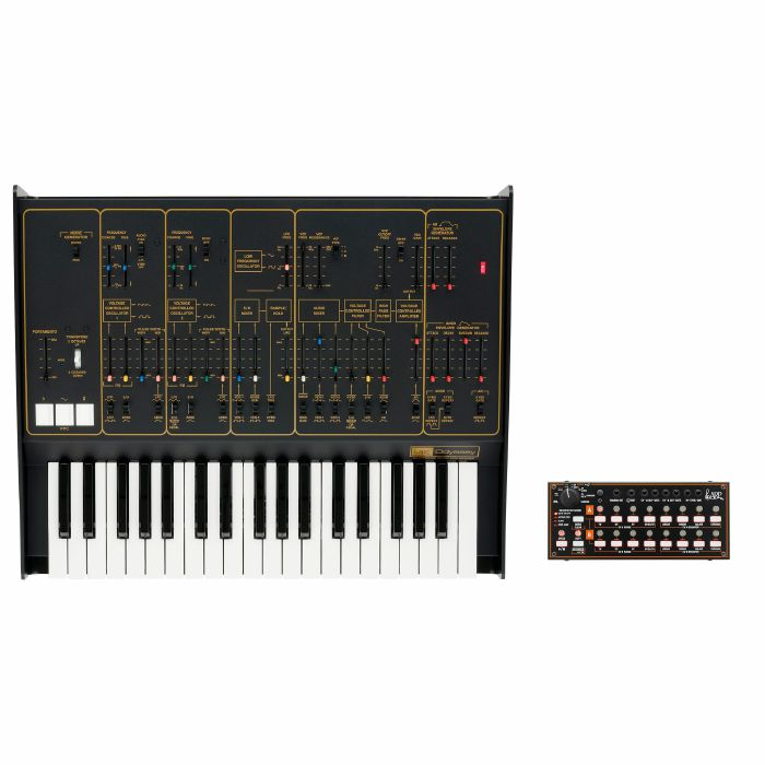 ARP/KORG - ARP Odyssey FSQ Duophonic Analog Synthesizer & Korg SQ1 Sequencer (limited edition Rev.2, black & gold)