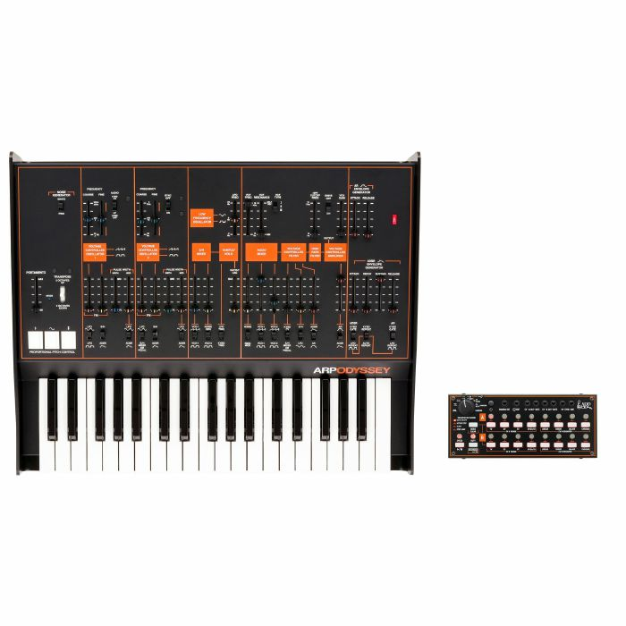 ARP/KORG - ARP Odyssey FSQ Duophonic Analog Synthesizer & Korg SQ1 Sequencer (limited edition Rev.3, black & orange)