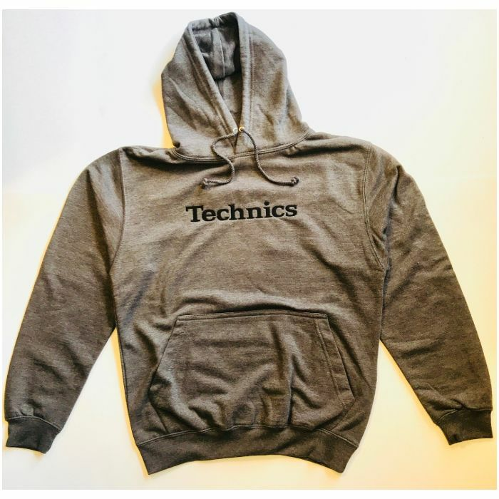 DMC - Technics Hooded Sweatshirt (charcoal grey with black embroidered logo, extra extra large)