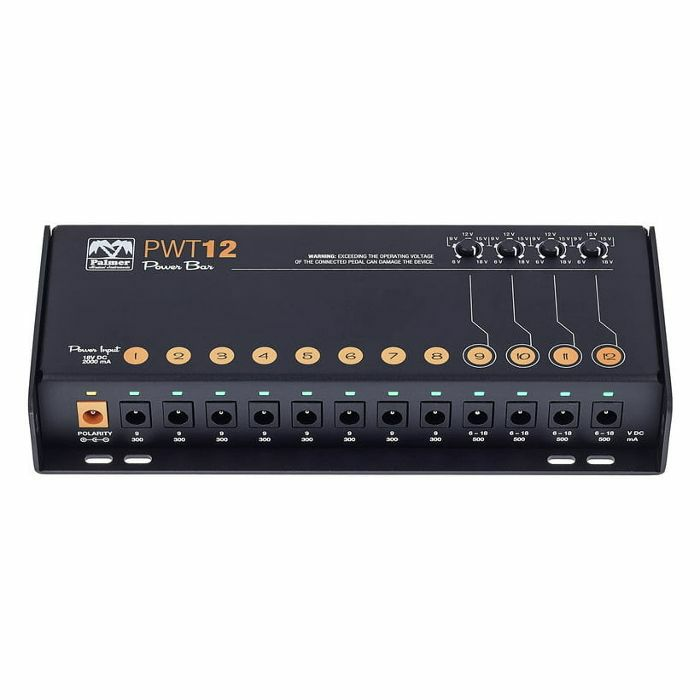 PALMER MI - Palmer MI PWT12 MK2 Universal Pedalboard Power Supply With 12 Outlets (supplied with 2 pin Euro plug)