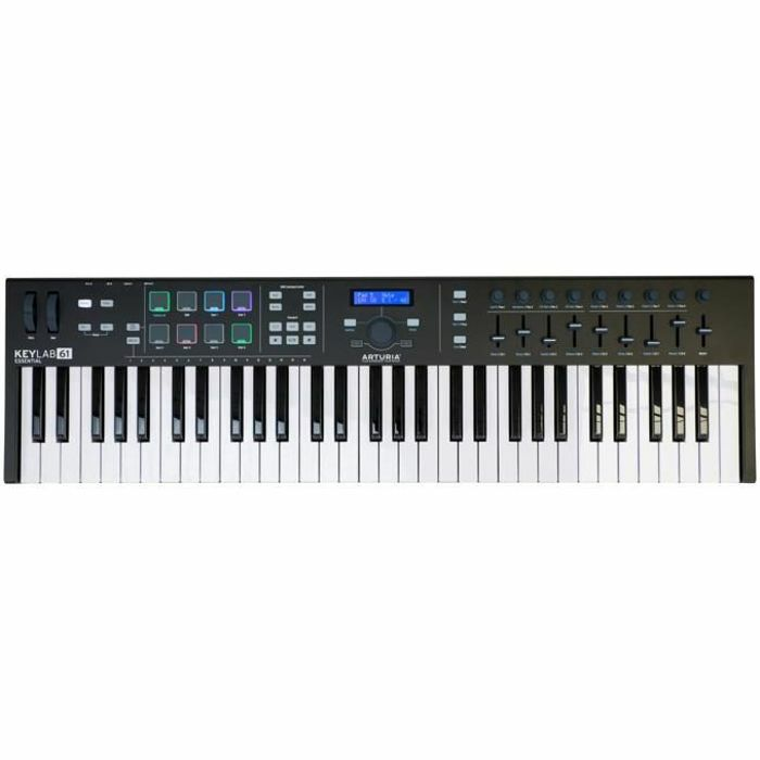 ARTURIA - Arturia Keylab Essential 61 Semi-Weighted MIDI USB Controller Keyboard With Analog Lab 2 Software (limited black edition) ***ART OF KEYS PROMO - INCLUDES FREE SOFTWARE INSTRUMENTS***