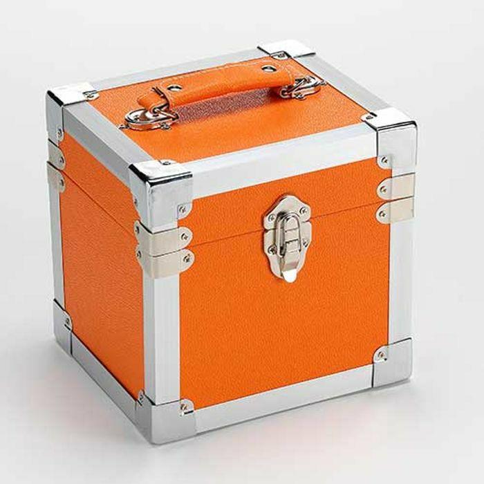 STEEPLETONE - Steepletone 7 Inch Vinyl Record & CD Storage Carry Case (orange)