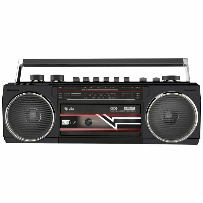 QTX - QTX Ace Retro Radio Cassette Player With Bluetooth, USB & SD Card Slot (black)