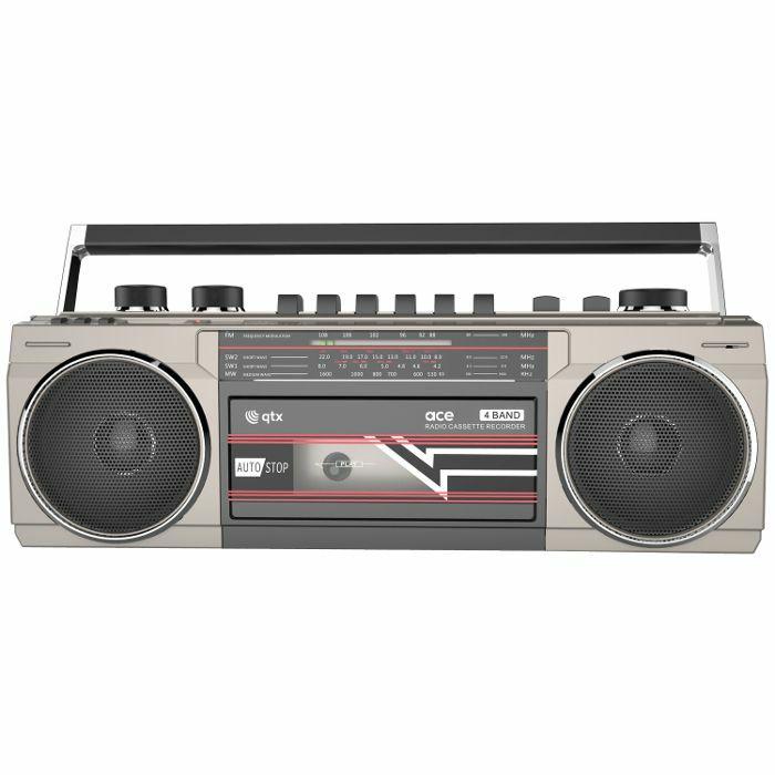 QTX - QTX Ace Retro Radio Cassette Player With Bluetooth, USB & SD Card Slot (silver)
