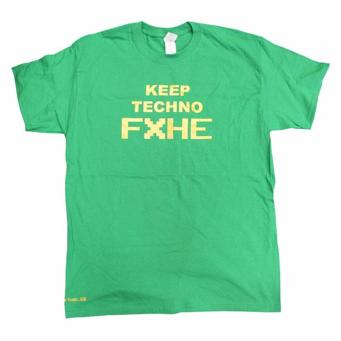 OMAR S - FXHE Keep Techno T Shirt (green with gold print, medium)
