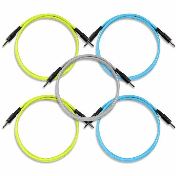 BOREDBRAIN - Boredbrain Transmutron 48 Inch 3.5mm TS Cables (yellow/blue/grey, pack of 5)
