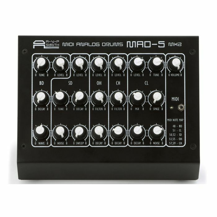 AVP SYNTH - AVP Synth MAD5 Mk2 MIDI Analogue Drum Synthesiser