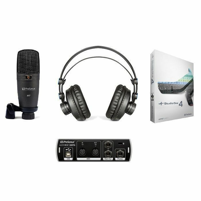 PRESONUS - Presonus AudioBox USB 96 Studio Recording Bundle (includes AudioBox 96 USB Audio Interface, M7 Condenser Microphone, HD7 Headphones & Studio One Artist 3 Software)