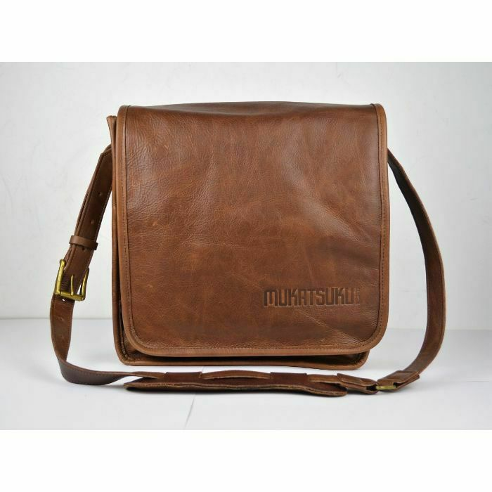 MUKATSUKU - Mukatsuku Records Are Our Friends Deluxe Leather 12 Inch Vinyl Record Messenger Bag (vintage soft brown leather, holds up to 25 x 12'' records) (Juno Exclusive)
