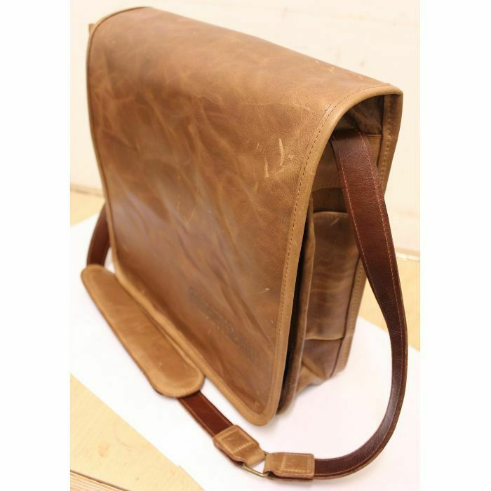 MUKATSUKU - Mukatsuku Records Are Our Friends Deluxe Mid Brown Leather 12 Inch Vinyl Record Messenger Bag (vintage soft mid brown leather, holds up to 25 x 12'' records) (Juno Exclusive)