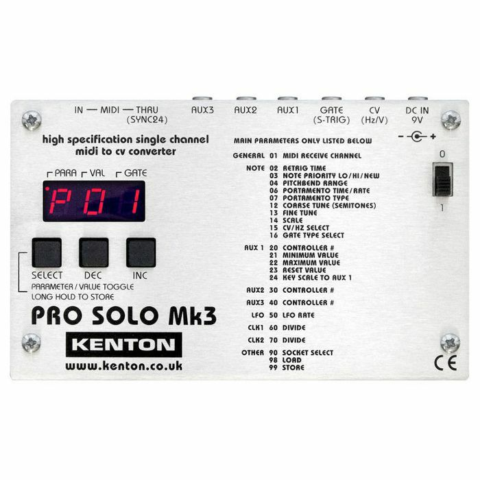 KENTON - Kenton Pro Solo Mk3 MIDI To CV Converter *SUPPLIED WITH UK 3-PIN POWER ADAPTER*