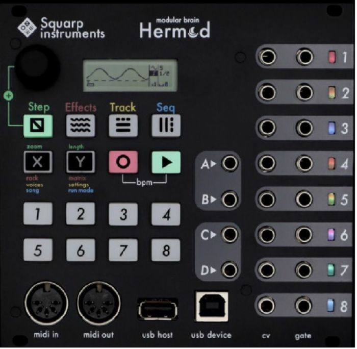 SQUARP INSTRUMENTS - Squarp Instruments Hermod Modular Brain 8 Track Sequencer & Interface Module (black)