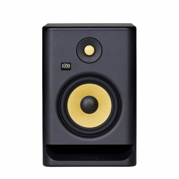 KRK - KRK Rokit RP7 G4 Active Studio Monitor Speaker (single, black with yellow cone)
