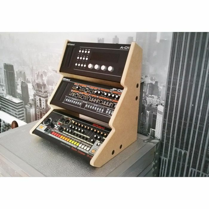 SYNTHS & WOOD - Synths & Wood Plain MDF Recessed End Cheeks Triple Stand For Roland Boutique Series Synthesiser
