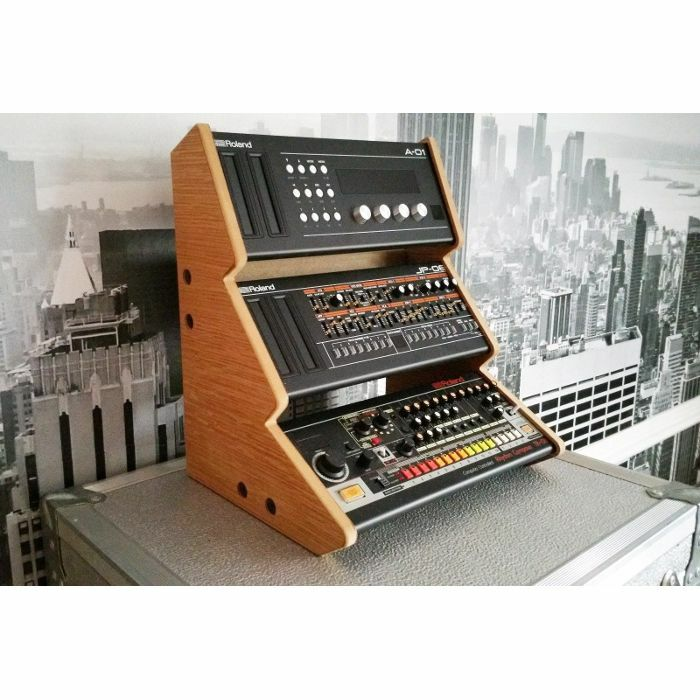 SYNTHS & WOOD - Synths & Wood Oak Veneered Recessed End Cheeks Triple Stand For Roland Boutique Series Synthesiser