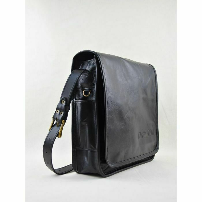 MUKATSUKU - Mukatsuku Records Are Our Friends Vintage Black Leather 12 Inch Vinyl Record Messenger Bag (vintage soft black leather, holds up to 25 x 12'' records) *Juno Exclusive*