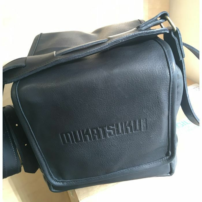 MUKATSUKU - Mukatsuku Records Are Our Friends Black Leather 7 Inch 45 Vinyl Record Bag (vintage soft black leather, holds up to 80 x 7'' singles) *Juno Exclusive*