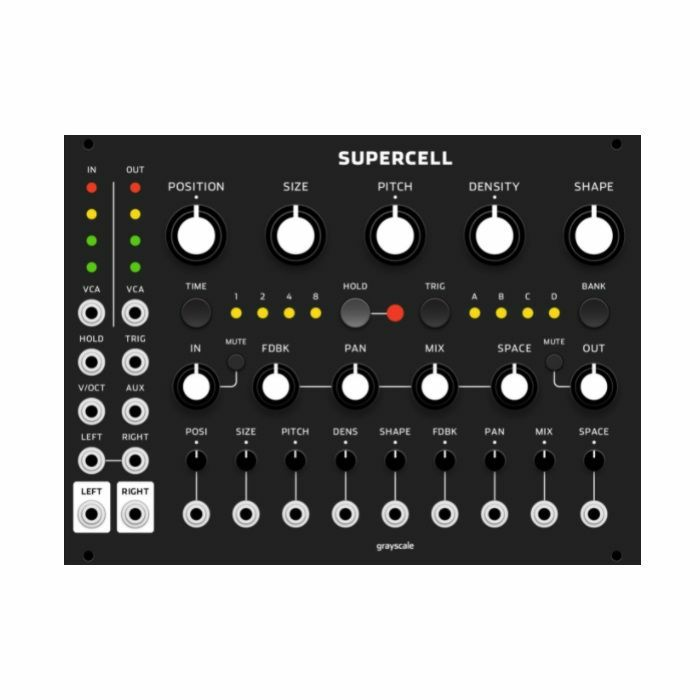 GRAYSCALE - Grayscale Supercell Granular Synthesis Module (black panel version, an expanded version of Clouds by Mutable Instruments)