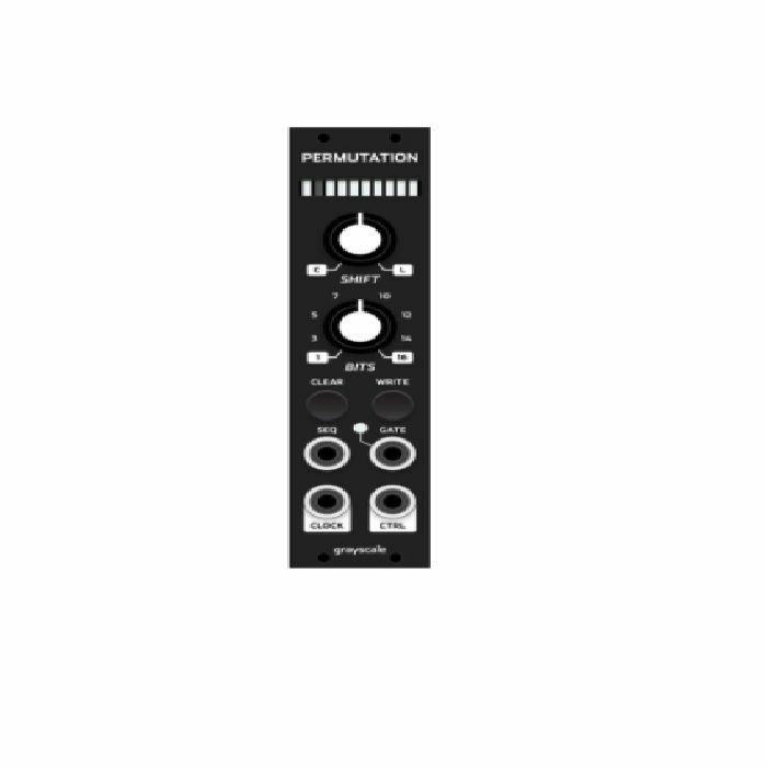 GRAYSCALE - Grayscale Permutation 6HP Random Sequencer Module (black panel version, random sequencer based on the Turing Machine)