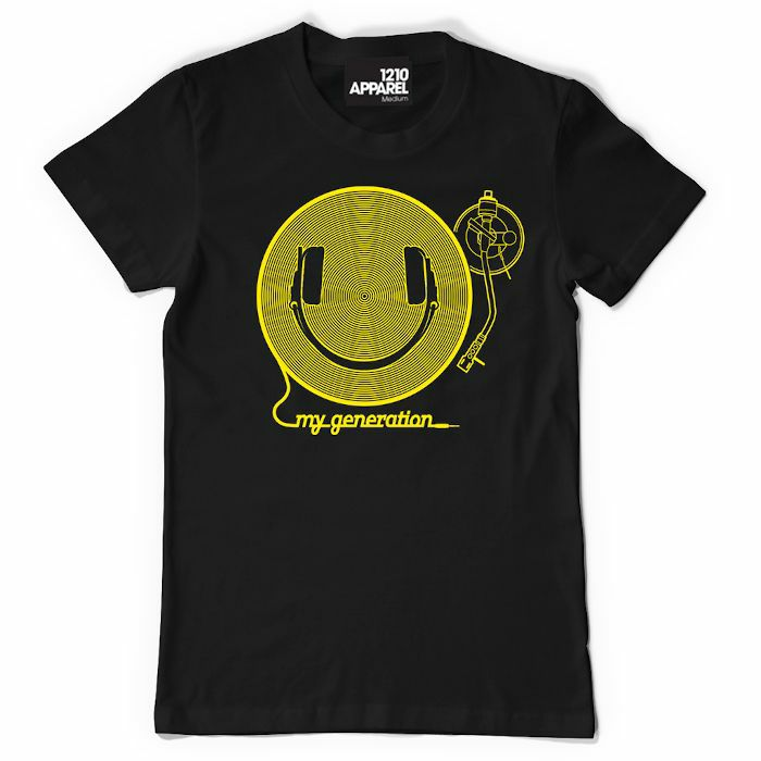 DMC - DMC Happy Generation T Shirt (black with yellow print, medium)