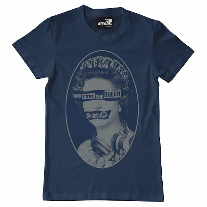DMC - DMC God Rave The Queen T Shirt (blue with silver print, extra large)