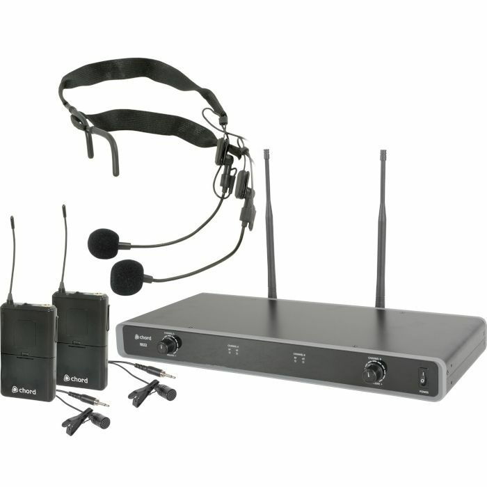 CHORD - Chord NU2 Dual UHF Neckband & Lapel Wireless Microphone System (611.775MHz & 613.825MHz channel 38)