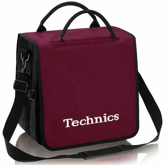 TECHNICS - Technics Backpack 12 Inch LP Vinyl Record Bag (wine red with white logo, holds up to 45 records)