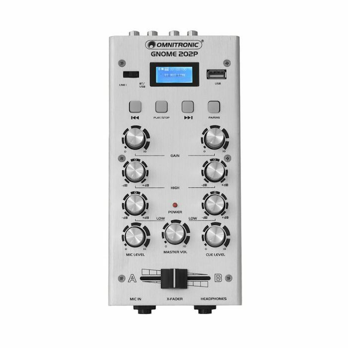 OMNITRONIC - Omnitronic Gnome 202P Mini DJ Mixer With Bluetooth & MP3 Player (silver)