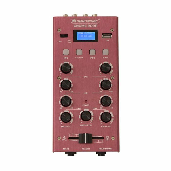 OMNITRONIC - Omnitronic Gnome 202P Mini DJ Mixer With Bluetooth & MP3 Player (red)