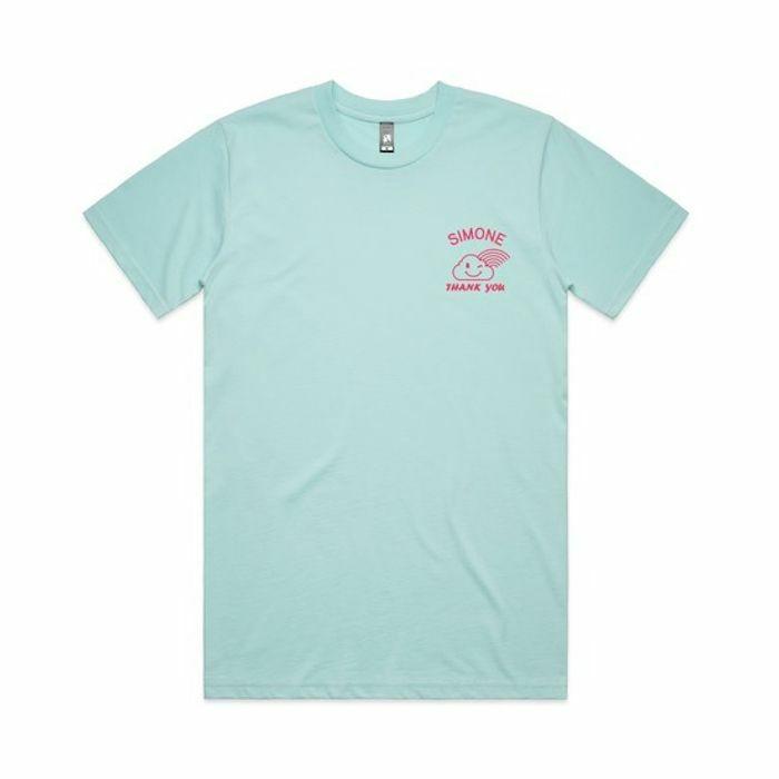 SIMONE - Mabsouta T Shirt (light blue with red print, medium)