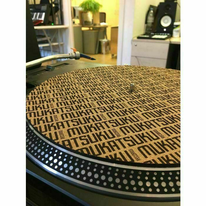 "MUKATSUKU - Mukatsuku Titled Name 12"" Cork Turntable Slipmat With Wooden Laser Etched 45 RPM Vinyl Record Adapter (single) *Juno Exclusive*"