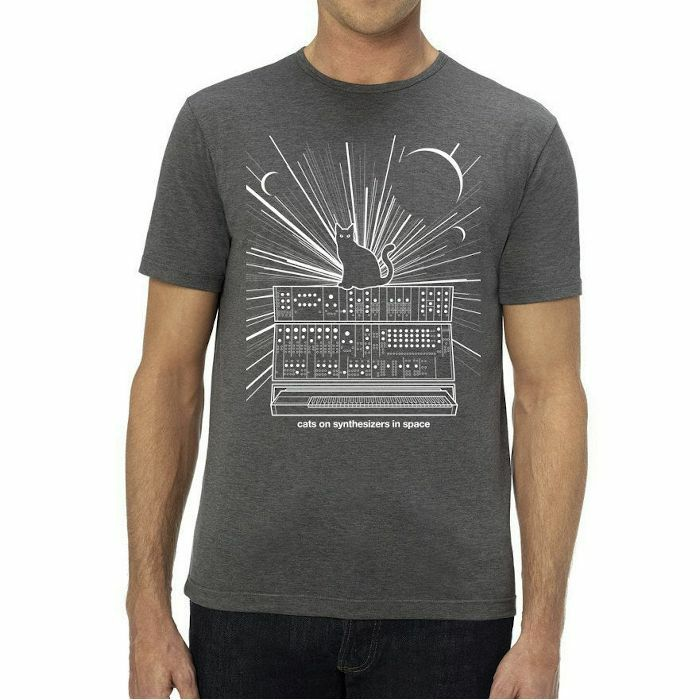 CATS ON SYNTHESIZERS IN SPACE - Cats On Synthesizers In Space T Shirt (grey with white print, large)