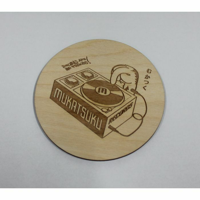 MUKATSUKU - Mukatsuku Wooden Drinks Coaster (Mukatsuku outline logo design, pack of 4) *Juno Exclusive*