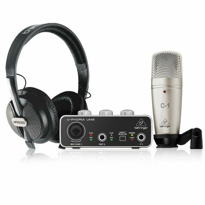 BEHRINGER - Behringer Uphoria Studio Complete Recording/Podcasting Bundle (includes UM2 USB Audio Interface, C-1 Condenser Microphone, HPS5000 Studio Headphones and More)