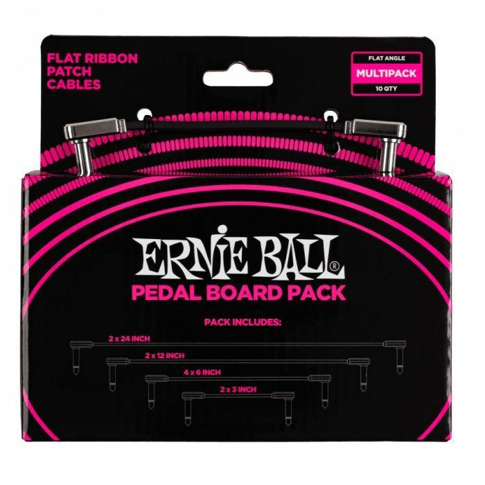 ERNIE BALL - Ernie Ball Flat Ribbon Patch Cables Pedal Board Pack (includes 2 x 24 inch, 2 x 12 inch, 4 x 6 inch & 2 x 3 inch cables)