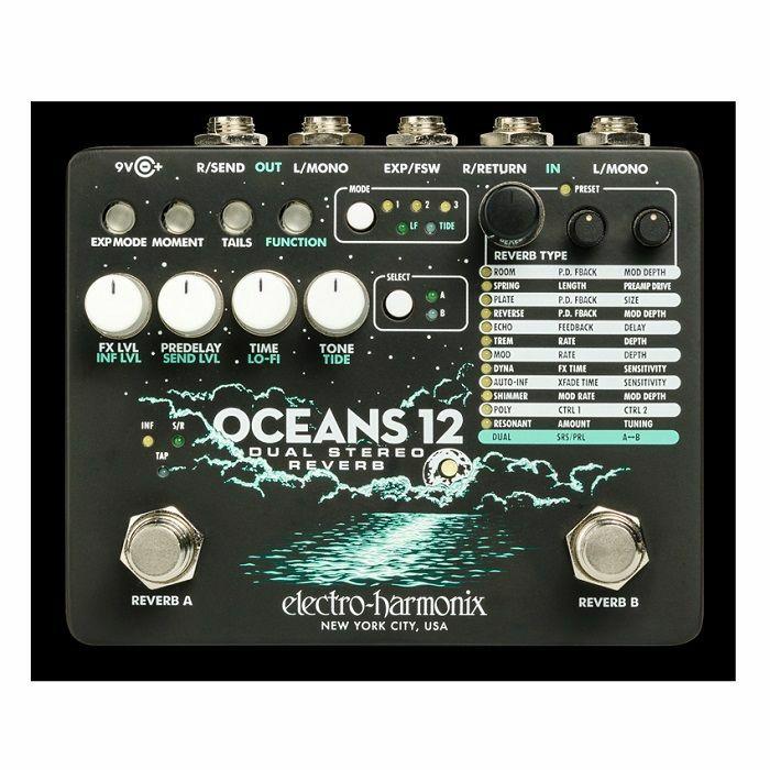 ELECTRO HARMONIX - Electro Harmonix Oceans 12 Dual Stereo Reverb Pedal