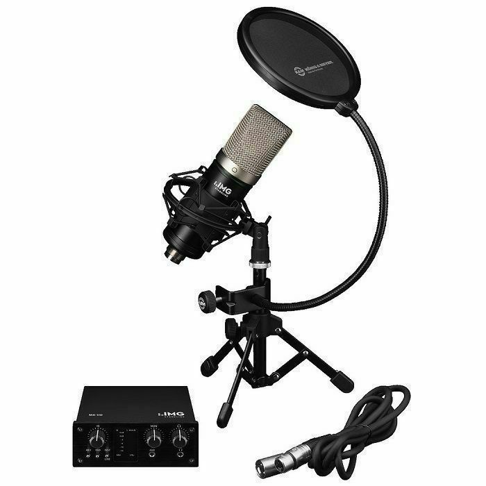 IMG STAGE LINE - IMG Stage Line Podcaster 1 Studio Recording Bundle With Microphone, Pop Filter, Stand & Interface
