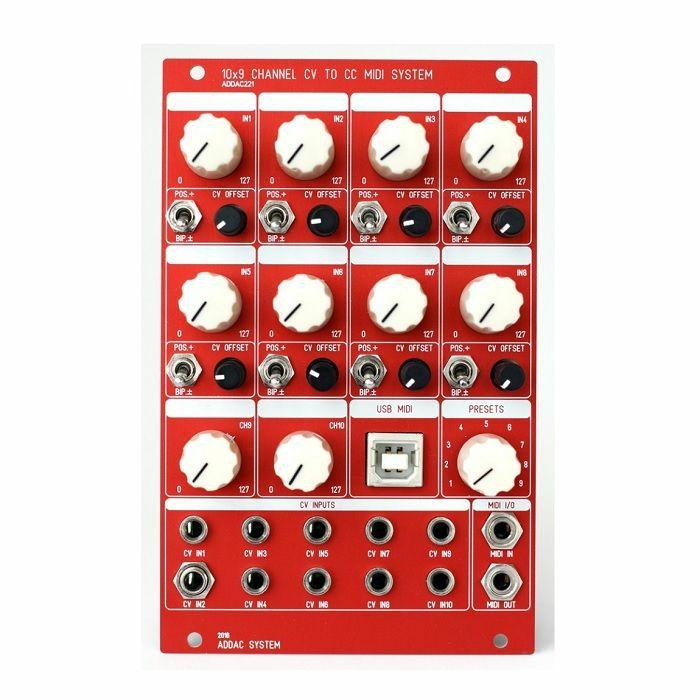ADDAC SYSTEM - ADDAC System ADDAC221 10x9 Channel CV to CC MIDI System Module (red faceplate)