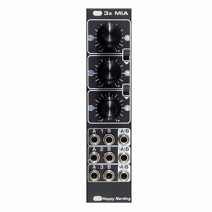 HAPPY NERDING - Happy Nerding 3x MIA Six Channel Attenuverting Mixer Offset Scale Polariser Module (black faceplate)