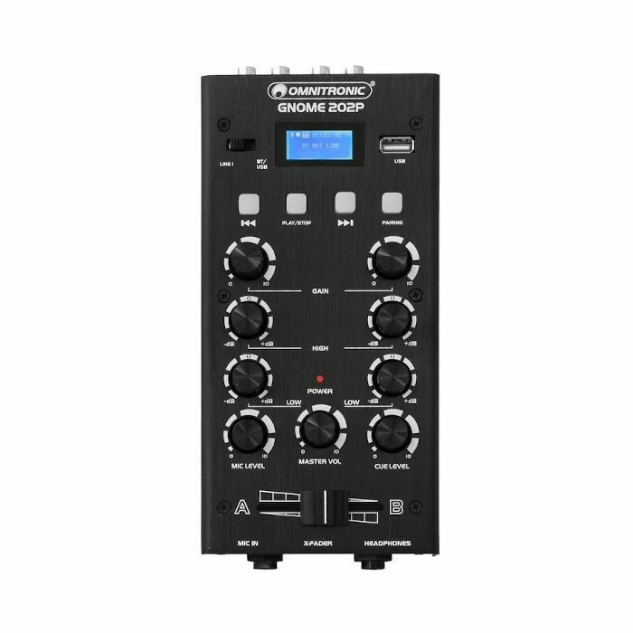 OMNITRONIC - Omnitronic Gnome 202P Mini DJ Mixer With Bluetooth & MP3 Player (black) (B-STOCK)