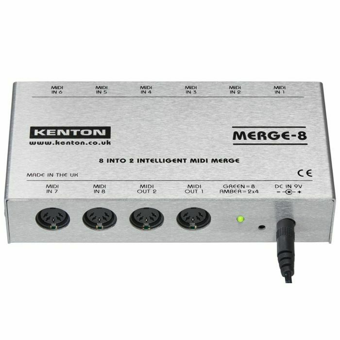 KENTON - Kenton Merge 8 Intelligent MIDI Merge Box *SUPPLIED WITH UK 3-PIN POWER ADAPTER* (B-STOCK)