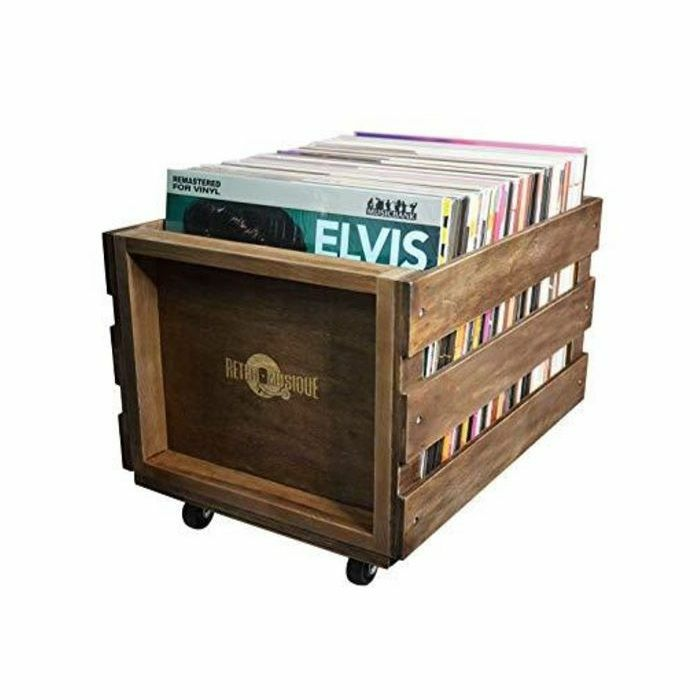 RETRO MUSIQUE - Retro Musique Wooden Vinyl Record Storage Crate