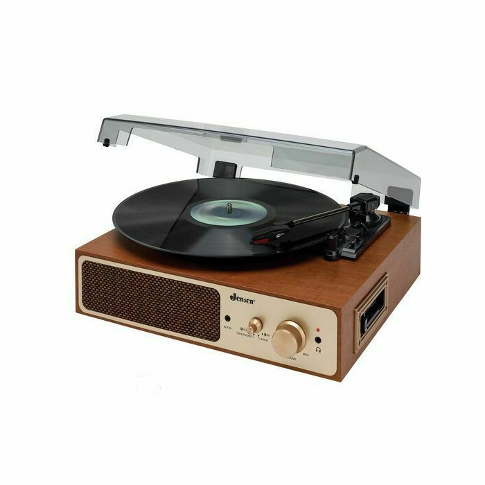JENSEN - Jensen JTA-245 Dual Bluetooth Wireless Turntable 3 Speeds Cassette Player With Built In Speakers & Headphone Jack Wood Look (brown) (120V AC)